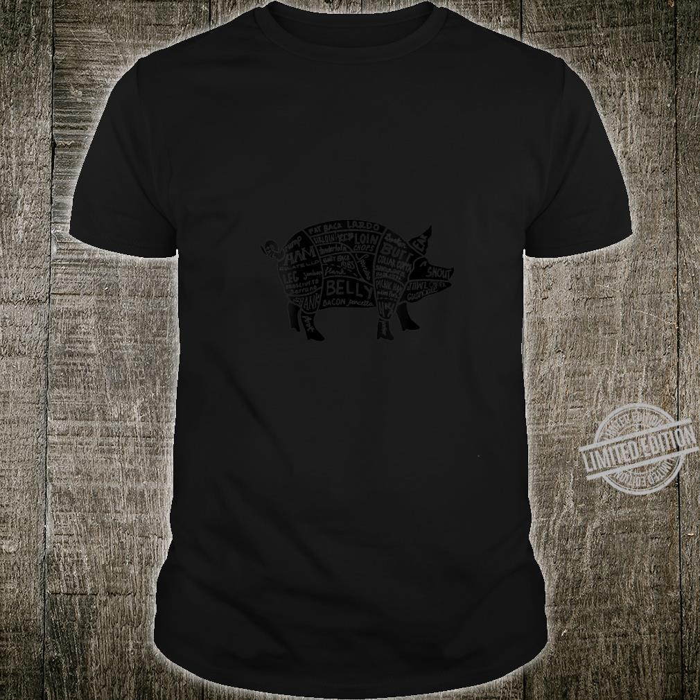 Womens Parts of Pork Hog Meat Cuts Chefs Cooks Butchers Shirt