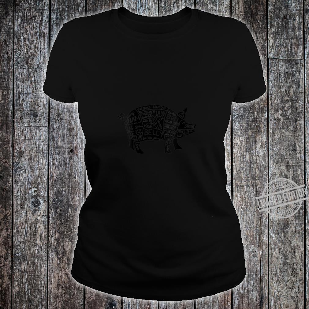 Womens Parts of Pork Hog Meat Cuts Chefs Cooks Butchers Shirt ladies tee