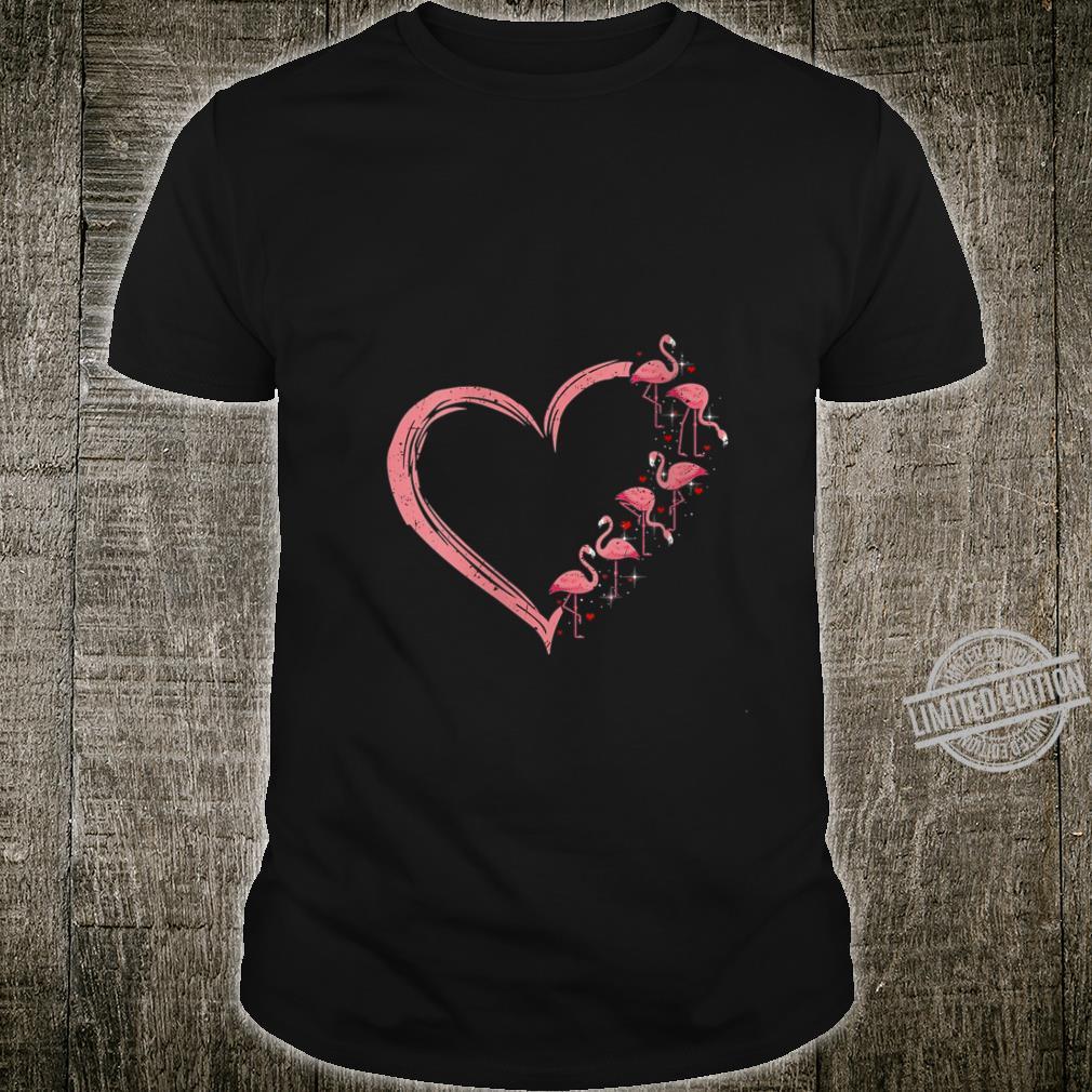 Womens Pink Flamingo Heart Love Flamingo Shirt