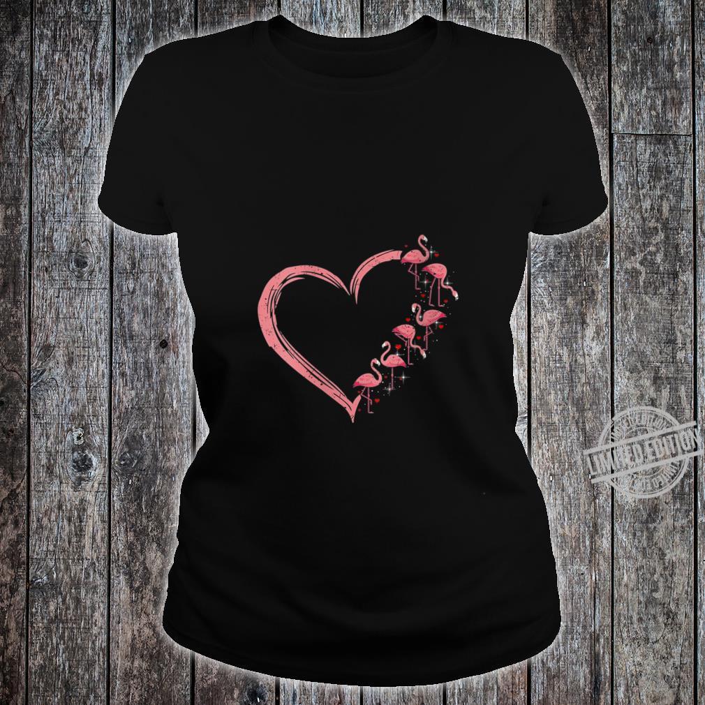 Womens Pink Flamingo Heart Love Flamingo Shirt ladies tee