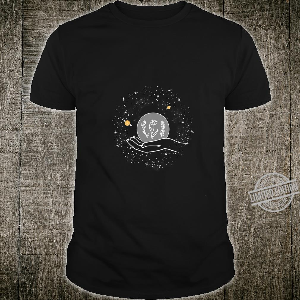 Womens Planet Flower On Hand Outer Space Cool Stars Star Gazer Shirt