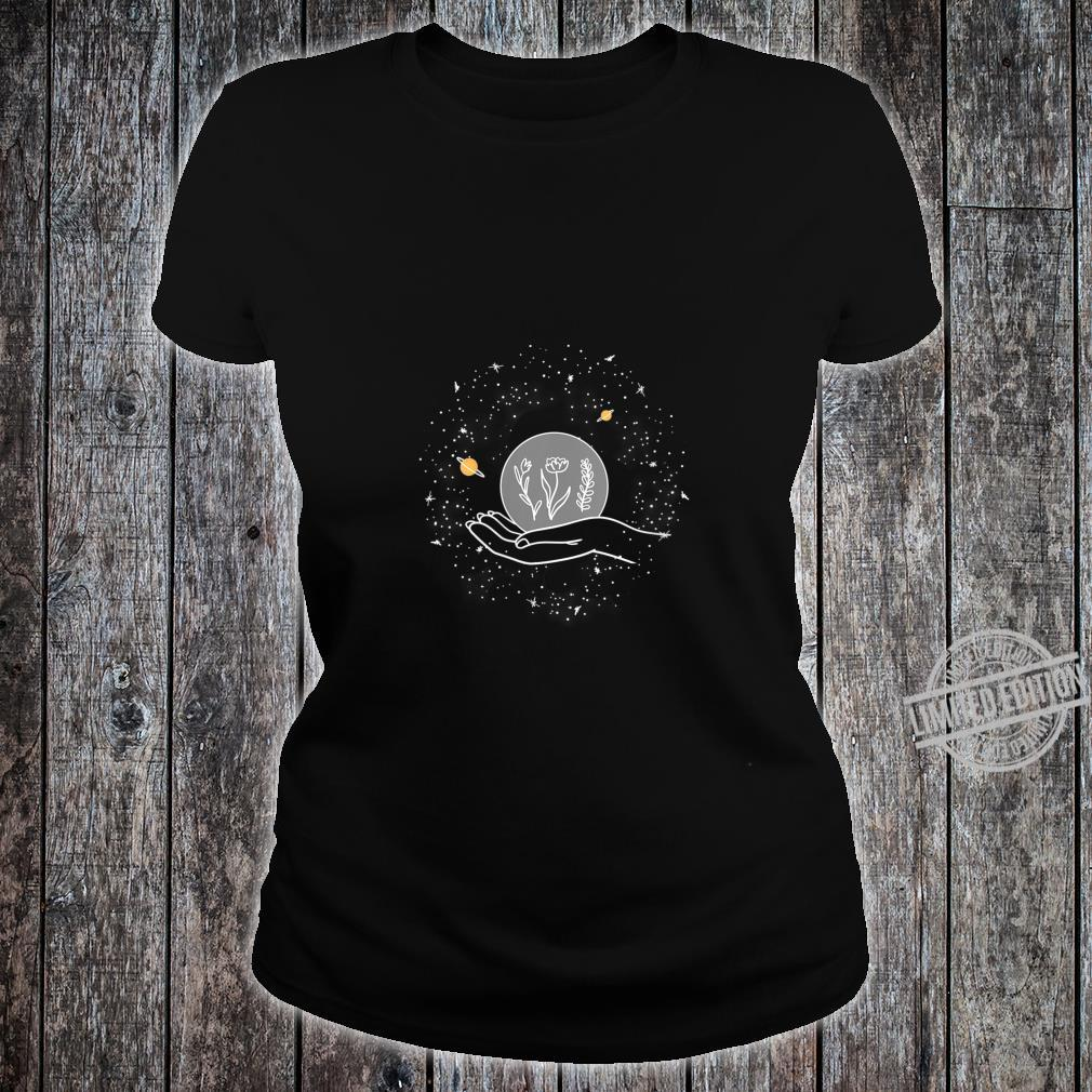 Womens Planet Flower On Hand Outer Space Cool Stars Star Gazer Shirt ladies tee